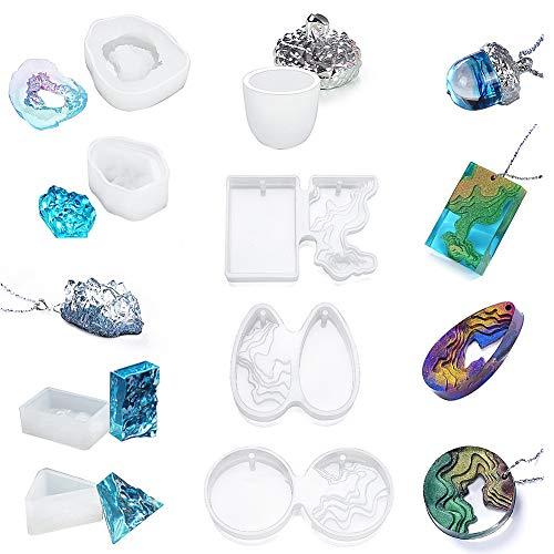Calistouk Moldes de Resina epoxi Moldes de Resina de Isla Moldes de Silicona Ocean Wave/Crystal/Oak Fruit para Colgante Collar Manualidades de Resina DIY