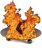 NICK and BEN Feuer-Schale Stahl 47cm schwarz Designer Pflanz-Schale Garten-Kamin Feuer-Korb Feuer-Stelle Grill-Feuer