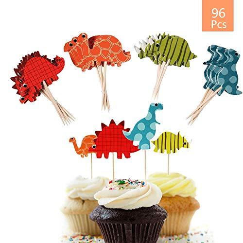 Cupcake Topper Dino, 96 Stück Kuchen Topper Dinosaurier, Torte Topper, Tortendeko für Kinder Baby Dusche Geburtstag Party Kuchen Dekoration von O-Kinee