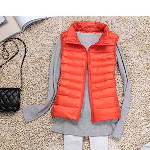 LVYING Women's Lightweight Sleeveless Jacket Outwear Packable Down Vest Stand Collar Outdoor Puffer Vest Orange