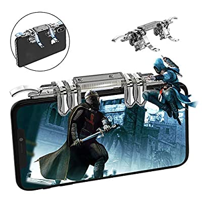 Newseego PUBG Mobile Game Controller, Phone Triggers L1R1 Mobile Game 6 Fingers Trigger Sensitive Shoot and Aim Keys Buttons for PUBG/Rules of Survival/Knives Out for Android & IOS (Transparent)