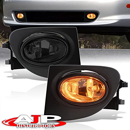 AJP Distributors JDM Front Bumper Driving Fog Lights Lamps Assembly Pair LH RH + Bulbs Switch Wiring Harness Kit Compatible/Replacement For Honda Civic Si EP3 Hatchback 2002 2003 2004 2005 02 03 04 05