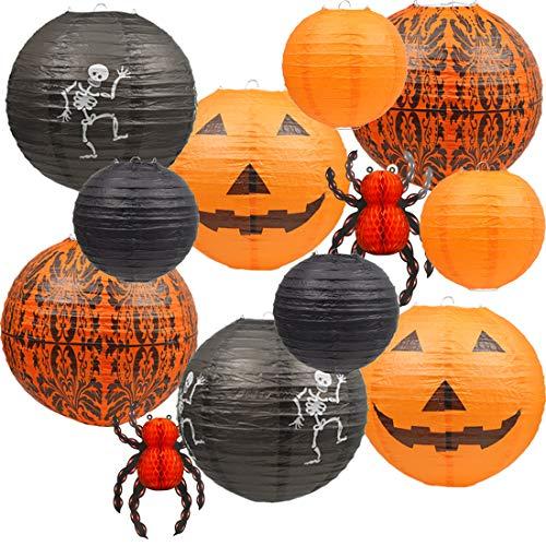 UNIQOOO 12Pcs Halloween Decorations Paper Lanterns, Hanging Jack-O'-Lantern Spider Skeleton Pumpkin for Halloween Indoor & Outdoor Spooky Home Decor - Party Supplies Props, 12