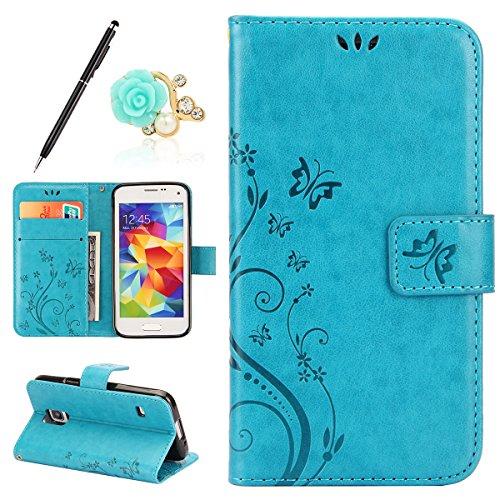 Uposao Kompatibel mit Samsung Galaxy S5 Mini Handyhülle Lederhülle Leder Tache Retro Vintage Schmetterling Muster Brieftasche Schutzhülle Flip Wallet Cover Handytasche mit Kartenfächer,Blau