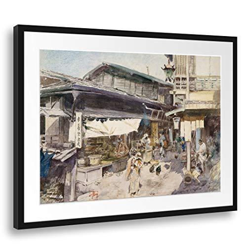 Printed Paintings Passepartout (80x60cm): Robert Frederick Blum - Escena de la Calle en Ikao, Japón