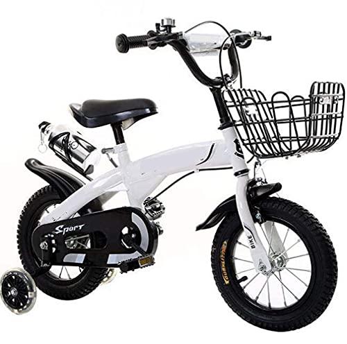 HUAQINEI Bicicleta para niños 12 Pulgadas 18 Pulgadas Pedal de Bicicleta para niños Bicicleta de montaña Bicicleta para bebés Masculinos y Femeninos Regalo, Blanco, 14 Pulgadas