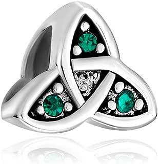 925 Sterling Silver Celtic Symbol Green Crystal Beads Sale Fit Pandora Bracelets