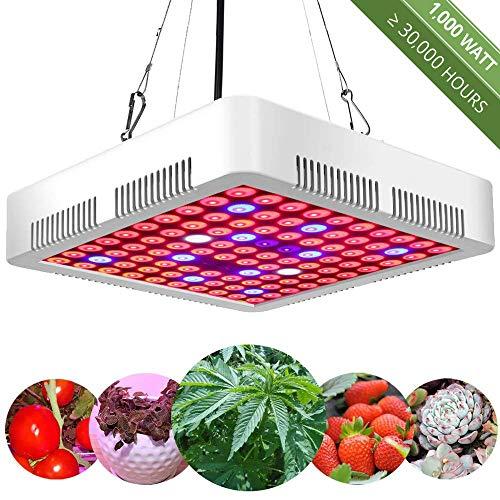 1000w Pflanzenlampe Pflanzenleuchte LED Vollspektrum-Grow Light Lampe Wachstumslampe Rot&Blau für Zimmerpflanzen Blumen und Gemüse tageslicht