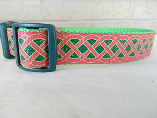 Schmoopsie Couture St Patrick's Day Hot Pink and Emerald Celtic Knot Dog Collar (Large 1' (15'-24'))
