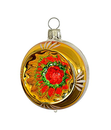 Thüringer Weihnacht 52–038palle con Reflex, 6cm, Argento, Retro Stile Oro, 3pezzi