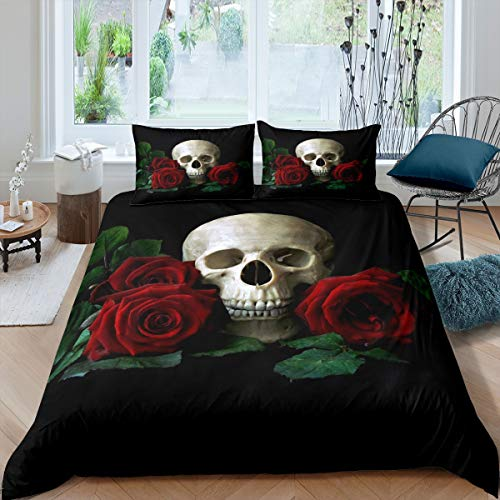 Skull Duvet Cover Rose Floral Print Bedding Set for Boys Girls Adults Horror Skeleton Comforter Cover Gothic Bones Print Bedspread Cover Bedroom Collection 3Pcs King Size