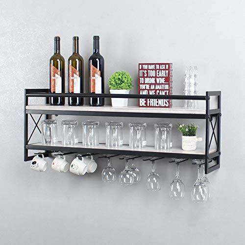 OISSIO Industrial Stemware Rack,Wine Rack Wall Mounted with Wood Shelves,2 Tier Stemware Storage with 8 Stem Glass Holder for Wine Glasses,Mugs,Home Decor,Retro White(36 inch)