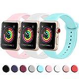 FUUI Correa Compatible con Apple Watch 38mm 42mm 40mm 44mm, Pulseras de Repuesto de Silicona Suave para iWatch Series 6 5 4 3 2 1, Mujer y Hombre(3 Pack)(38mm/40mm S/M, Azul Claro/Blanco/Rosa)