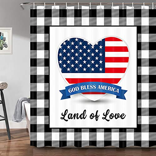 Buffalo Check Plaid Independence Day Patriotic Shower Curtain - Creative American Flag Heart Fourth of July Farmhouse Bathroom Curtains Set with 12 Hooks, 69x70 Inches