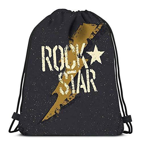 BOUIA Kordelzug Taschen Rucksack Rockstar Grunge Star Travel Gym Taschen Rucksack Umhängetaschen