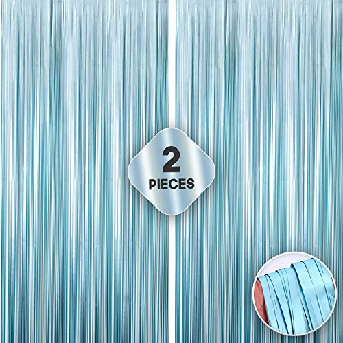 XtraLarge Turquoise Foil Fringe Curtain - 3.2x10 Feet   Pack of 2   Metallic Teal Fringe Backdrop for Birthday Mermaid Theme Party Decorations   Teal Tinsel Curtain Streamers For Ocean Theme Party