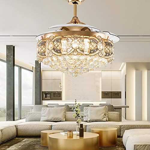 Orillon Elegant Crystal Chandelier Ceiling Fan Modern Luxure LED Lighting 42 Inch Polished Gold Quiet for Indoor Room, Retractable Blades Adjust in 2 Direction-3 Color Setting-Wall Control and Remote