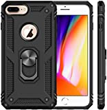 Aarnik Finger Ring Holder Kickstand D6 Heavy Duty Shockproof Armor Kickstand Back Case Cover Compatible with i-Phone 8 Plus (D6-Black)