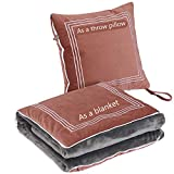 Super Soft Travel Blanket Throw Pillow 2 in 1-15.7 x 15.7 Inches Throw Pillow 59 x 47 Inches Airplane Blanket 2lb Warm Quilt for Rest