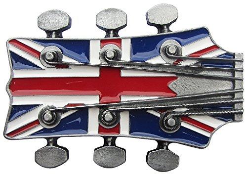 Life Art Buckle klamra do paska głowa gitary angielska flaga wysokiej jakości - brak chiński towar pomysł na prezent gitara Anglia Band + woreczek na prezent