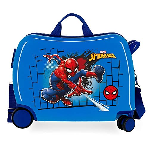Marvel Spiderman Red Valigia per bambini Azzurro 50x39x20 cms Rigida ABS Chiusura a combinazione numerica 38L 2,1kgs 4 Ruote Bagaglio a mano