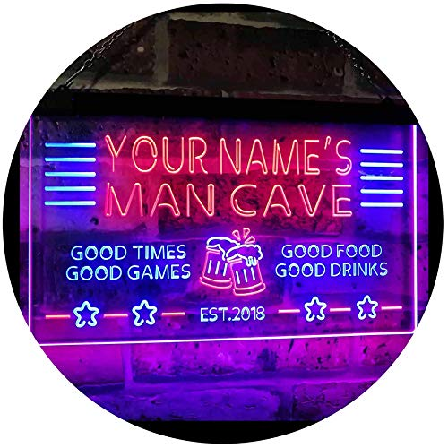 ADVPRO Personalized Name Custom Man Cave Home Bar Est. Year Dual Color LED Enseigne Lumineuse Neon Sign Blue & Red 400mm x 300mm st6s43-x0012a-tm-br
