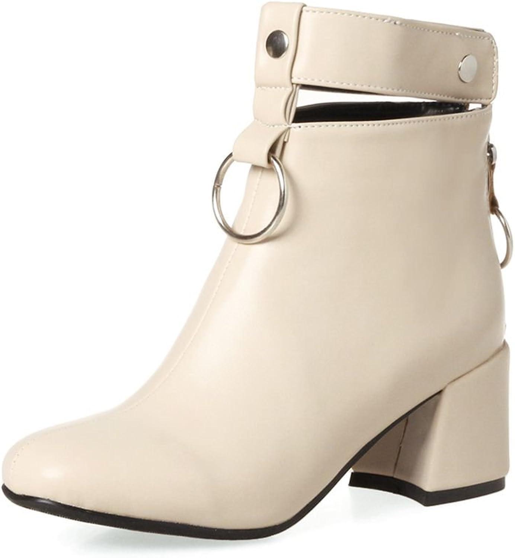 KingRover Women's Chunky Heel Square Toe PU Leather Metallic Decoration Comfort Handmade Dress Ankle Booties