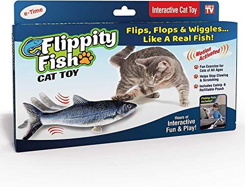 e-Times Flippity Fish-Katzenspielzeug, floppt und wackelt wie echt inkl. Angelrute und Katzenminze
