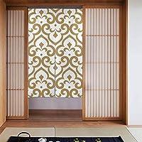のれん カーテン アラビア風グラフィックの抽象的なパターンモダンなパターン白とゴールド 柔らかい おしゃれ 玄関 キッチン リビング 台所 飲食店 出入り口 開店祝い 新築祝い 仕切り 遮光 暖簾 カーテン 幅86丈143cm
