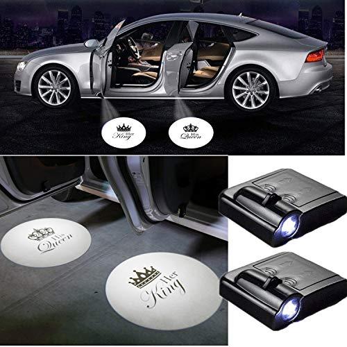 2 X Universal Auto Autotür Projektor Led logo einstiegsbeleuchtung Türbeleuchtung Her King His Queen Partner Geschenke Tür Licht