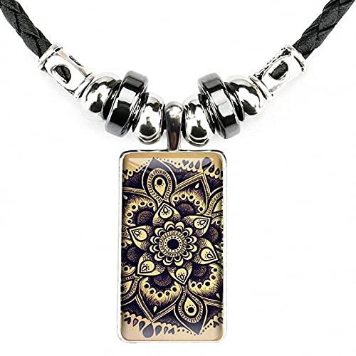 Mandala De Madera Flor Art Boutique Color Acero Vidrio Con Colgante En Forma De Rectángulo Gargantilla Collar De Hematita Negro