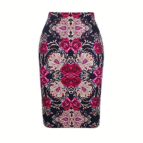 N\P Encantador rojo Rose Print Ladies Pencil Skirt Ladies Women Girls Slim Bottom