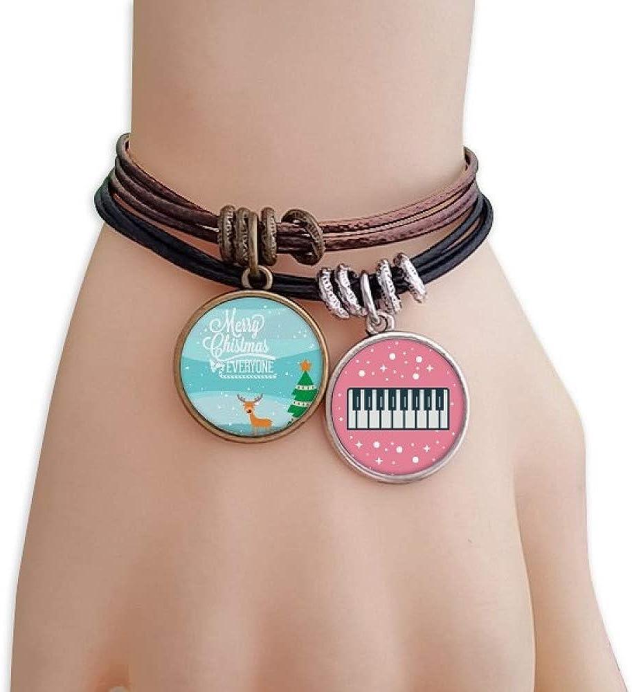 cold master DIY lab Christmas Deer Tree Festival Illustration Bracelet Rope Wristband Piano Key Music Charm