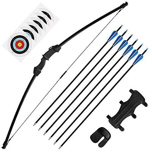The7boX Tir à l'arc Set Straight Pull Bow and Arrow Flèche de Carbone Mixte pour Adolescents et...