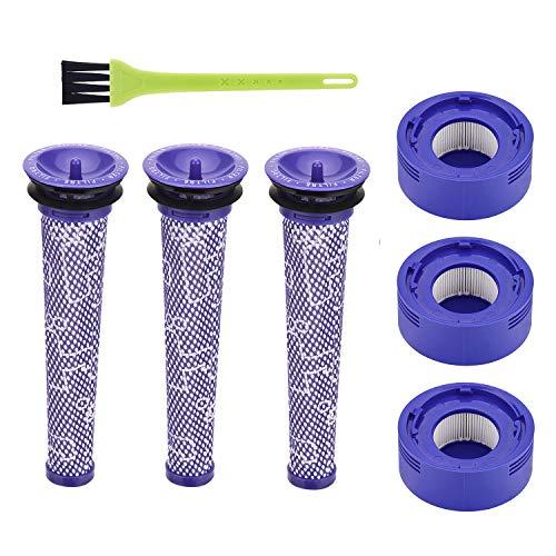 Yolando Ersatzfilterkit Vorfilter und HEPA-Nachmotorfilter für Dyson V8 V7 Staubsauger, Ersatzteile Filter Zubehör Set mit Reinigungsbürste