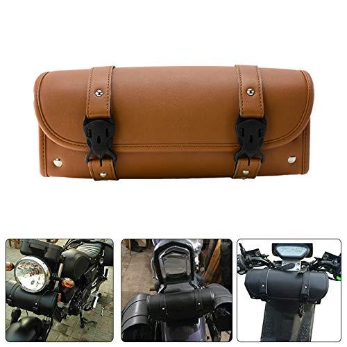 Rebacker universal motocicleta manillar herramienta delantera tenedor rollo almacenamiento Sissy bar barril bolsa pu cuero marrón