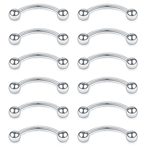 SCERRING 12PCS Stainless Steel Curved Barbell Eyebrow Tragus Helix Ear Belly Lip Ring Body Piercing Jewelry with Balls 16G 12mm