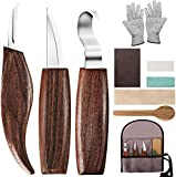Wood Carving Tools, 10 in 1 Wood Carving Kit with Carving Hook Knife, Wood Whittling Knife, Chip Carving Knife, Gloves, Carving Knife Sharpener for Beginners Woodworking kit