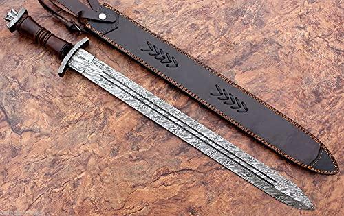 Custom Hand Forged Damascus Steel Swiss Dagger/ Sword/GLADIOUS Sword Gladiator Blood GROOVED Sword
