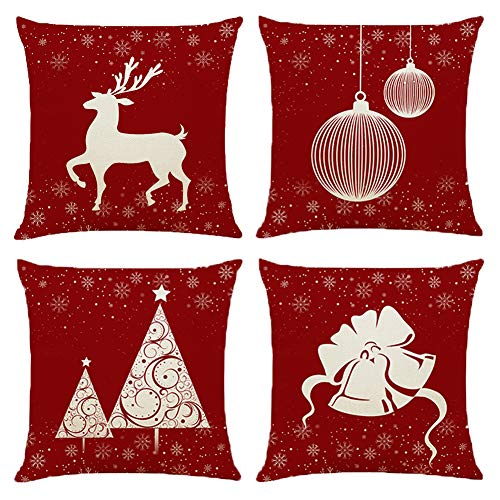 BCKAKQA Christmas Throw Pillow Covers 18 x 18 inch Set of 4 Red Cushion Covers 45cm x 45cm Soft Polyester Square Decorative Pillow Covers for Living Room Sofa Couch Bed Pillow Cases