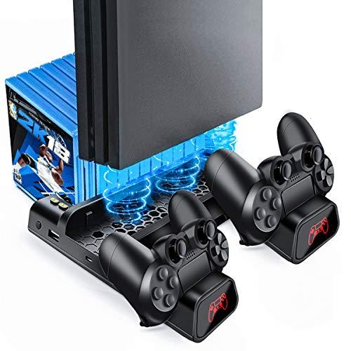 Likorlove PS4/PS4 Pro/PS4 Slim Stand, Chargeurs pour Playstation 4 Support Ventilateur de Refroidissement avec Stockage de 10 Jeux pour Manette DualShock Station de Recharge