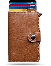Porta Carte di Credito - Moneyhold® - Portafoglio Uomo Slim - Porta Documenti, Porta Tessere e Porta Banconote Piccolo e In Pelle - Idea Regalo Uomo - (D) - Classic / Marrone