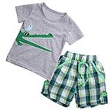 Conjunto Traje 2 Piezas para Bebé Camiseta de Verano con Estampado Cocodrilo+Pantalones Cortos Playa Niños Mar 1-7 Años (Gris, 5-6 Años)