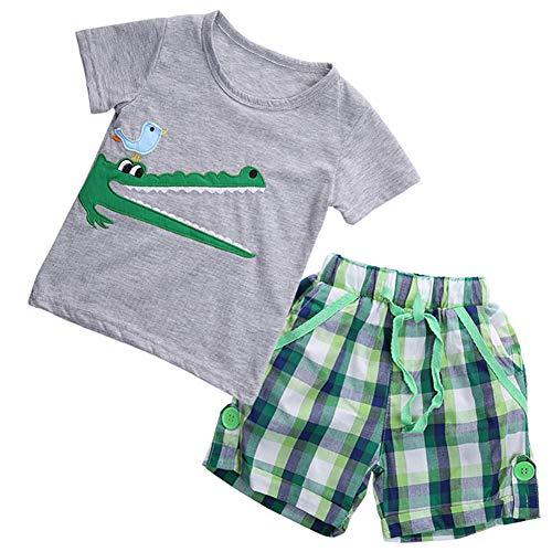 Juego de 2 piezas completo para niño, camiseta de verano con estampado de cocodrilo + pantalones cortos para niño de playa de 1 a 7 años gris 4-5 años