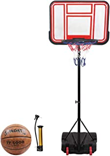 "Body Well Portable Hoop & Goal Basketball System Height Adjustable 65""-104"" Come with Basketball & Ball Pump"