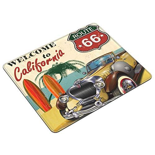Alfombrilla de ratón para juegos American Vintage Car Route 66 con borde cosido antideslizante base de goma alfombrilla de ratón para ordenador portátil PC