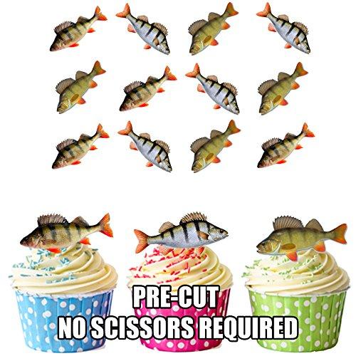 Angeln, Barsch Fisch 12 essbaren Kuchendeckel
