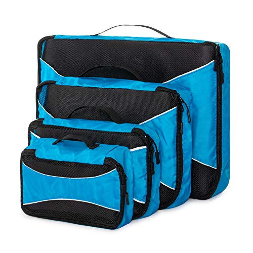 Home Treats Packing Cube Travel Bags Black.for Suitcases, Travel and Carry-on Luggage (Blue, 4 Pack)