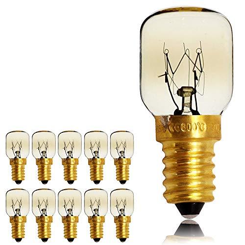 Kleine Glühlampe für Mikrowelle/Backofen, 10 Stück/Packung, SES/E14-Schraubsockel, für bis zu 300 Grad, E14 25.00W 240.00V