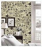 Dwind D1206 Papel de periódico vintage despegable y pegado para muebles de dormitorio: fácil de limpiar, duradero e impermeable para el hogar 17. 7 x 118 pulgadas